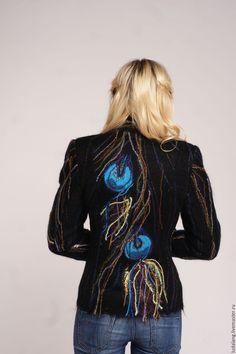 Купить Жакет Павлин - рисунок, бирюзовый, валяный жакет, женский пиджак, валяный…
