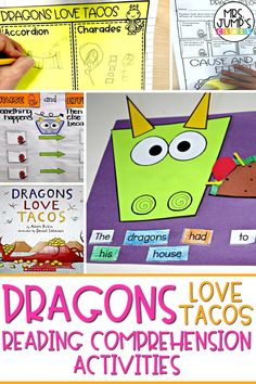 """Looking for fun first grade reading comprehension activities that your students will love? These activities focus on early reading comprehension skills to go along with the first grade read aloud """"Dragons Love Tacos""""."""