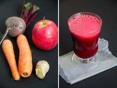 beets, carrots, ginger, apple, and clementine: power potion! (Photo: Carolyn Cope) We like to call the juice El Vampiro! Juice Smoothie, Smoothie Recipes, Cranberry Smoothie, Carrot Smoothie, Carrot Apple Juice, Ginger Apple, Ginger Juice, Fruit Juice, Fresh Juice Recipes