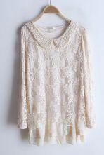 Beige Long Sleeve Lace Lapel Slim Dress $38.71  SKU:dress13022508