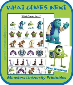 Sequencing: Monsters University Printables