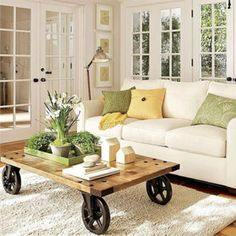 Best Photos Of Furnitures For Small Living Room Design Ideas. Comfy Medium White Sofa With Three Cushions And Wooden Coffee Table With Wheel Base On White Area Rug Design For Best Furnitures For Small Living Room Ideas.