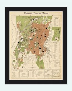 Old Map of Cairo 1886 Egypt Vintage Map by OldCityPrints on Etsy, $29.00