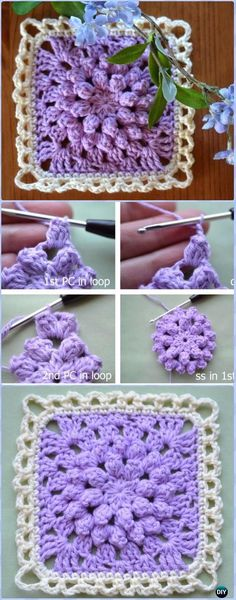Crochet Square Patterns Crochet Easy Popcorn Granny Free Pattern - Crochet Granny Square Free Patterns - Crochet Granny Square Free Patterns: Crochet Animal, Flower, Heart, Granny Square with Free Patterns and video for beginner and seasoned crocheters. Crochet Granny Square Beginner, Granny Square Pattern Free, Crochet Beanie Pattern, Granny Square Crochet Pattern, Crochet Squares, Crochet Motif, Easy Crochet, Crochet Flowers, Crochet Stitches