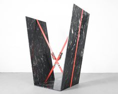 JOSE DÁVILA Joint Effort, 2015 Peril black marble and ratchet straps 81 1/2 × 69 1/10 × 35 2/5 in