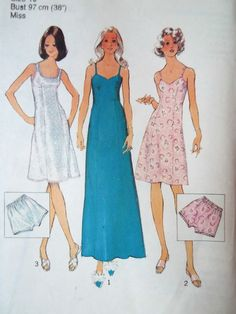 Rare vintage 1970s Simplicity 6491 sewing pattern  Slip in mini length with spaghetti straps and a sweetheart neckline or a scoop neck with thicker