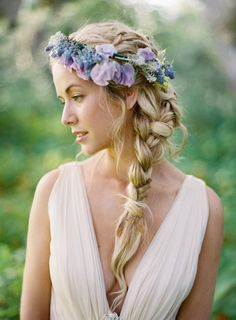 floral crown Wedding Inspiration - Style Me Pretty