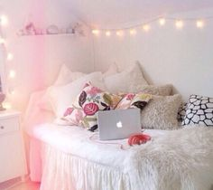Love all the pillows and lights!