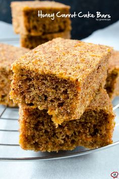 Carrot Cake Bars taste so darn good that you don't even need frosting. No butter and no sugar in the recipe. These are definitely healthy too! | giverecipe.com | #carrot #bars