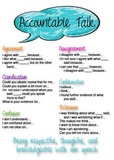 Accountable Talk Lessons | Accountable Talk Poster