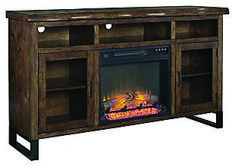Stylish fireplace tv stand at menards that will blow your mind Large Tv Stands, Glass Front Cabinets, Fireplace Tv Stand, Media Storage, Family Room Design, Media Center, Colorful Furniture, At Home Store, Signature Design
