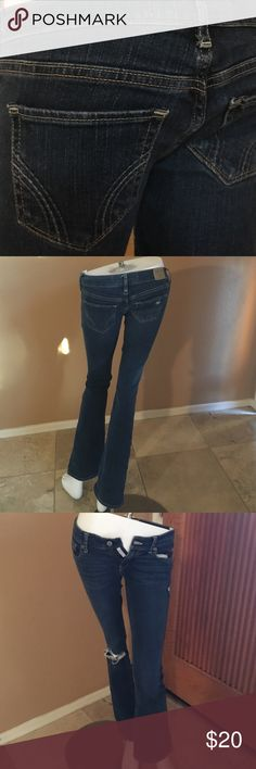 Hollister Jeans! 63. Hollister Social Stretch Jeans! Size 25x31. In excellent condition, only worn a couple times, fashion tears throughout! Hollister Jeans Boot Cut