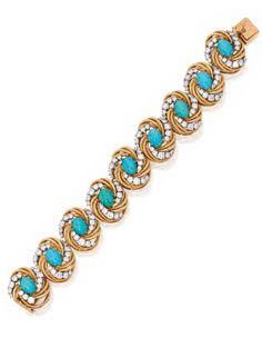 18 Karat Gold, Platinum,Turquoise and Diamond Bracelet, Van Cleef & Arpels, France | Lot | Sotheby's