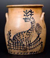 EDMANDS & CO. (Charlestown, MA) Stoneware Jar w/ Fine Slip-Trailed Deer Decoration