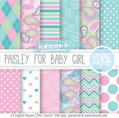 Paisley Patterns Digital Paper Romantic Vintage by LagartixaShop