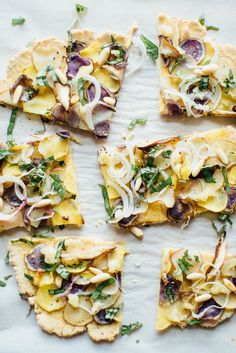 Chickpea Flour Flatbread with New Potatoes and Basil | Wholesome Foodie