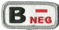 "Tactical Blood Type Patches - ""Type B Negative"" - 2""x1"" (Red & White) Gadsden and Culpeper, http://www.amazon.com/dp/B0081BD9G2/ref=cm_sw_r_pi_dp_6zmdrb02XJ7NK"