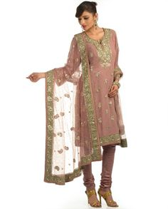 Burnt Clay Printed Suit with Gota Patti Work by Ritu Kumar Indian Fashion Designers, Indian Designer Outfits, Pakistani Designers, Pakistani Dresses Online Shopping, Online Dress Shopping, Indian Dresses, Indian Outfits, Pink Suits Women, Indian Party Wear