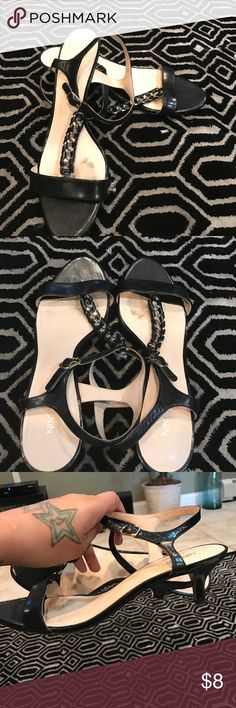 """Kitten heel. Black with gold embellishments. As shown. In good condition. Buckle straps. 2"""" heel Nine West Shoes"""