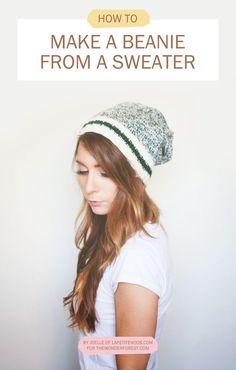 Wardrobe Remix  DIY No Sew Beanie From a Sweater (- Wonder Forest -) 37b602b2f3e3