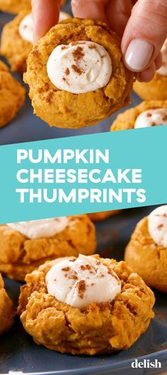 Pumpkin Cheesecake Thumbprints You'll Be Baking Pumpkin Cheesecake Thumbprints On Repeat This FallDelish Related posts: Everyone loves this Pumpkin Cheesecake Factory Copycat Recipe. It's just lik… Pumpkin Cheesecake Cupcakes Baked Pumpkin, Pumpkin Recipes, Fall Recipes, Pumpkin Spice, Holiday Recipes, Christmas Recipes, Pumpkin Pumpkin, Healthy Pumpkin, Christmas Desserts