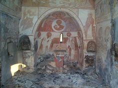 The Presentation of the Virgin church in Dolac, Kosovo i Metohija. Built in 1620. Vandalized and set on fire, July 1999. The altar table was smashed. At the end of August 1999 the church was completely demolished.