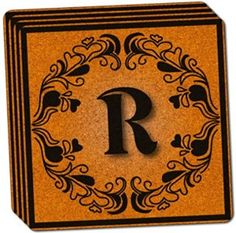 "Amazon.com: Custom & Cool {4"" Inches} Set Pack of 4 Square ""Grip Texture"" Drink Cup Coaster Made of Cork w/ Cork Bottom & Modern Household Decor Elegant Letter R Design [Gold & Black Colors]: Home & Kitchen"