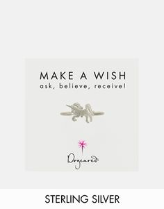 Dogeared Exclusive for ASOS Sterling Silver Make A Wish Unicorn Ring