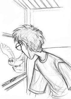 Harry turned to look outside.  Something small and grey was bobbing in and out of sight beyond the glass.