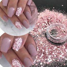 Glitter Nail Art, Cute Acrylic Nails, Acrylic Nail Designs, Glitter Top, Chunky Glitter Nails, Sparkly Nails, Glitter Nail Designs, Pink Sparkle Nails, Glitter Dust