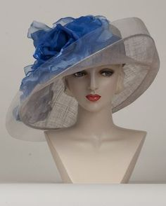 Virginia, silver grey with cobalt, parisisal crown & sinamay brim hat with giant silk cabbage rose & horsehair edge