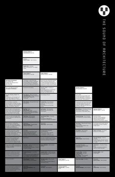The Sound of Architecture - Metropolis Magazine: The lineup of speakers and performers, drawing upon a broad array of disciplines, is designed to take the aural dimension of architecture beyond the exclusive domain of the acoustic. Graphic Design Posters, Typography Design, Michael Bierut, Typo Poster, Text Layout, School Architecture, Grafik Design, Layout Inspiration, Layout Design