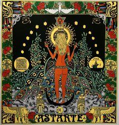 The womenscarf with goddes Astarté (my artwork) / Dámský šátek s motivem bohyně Astarté (má výtvarná práce)