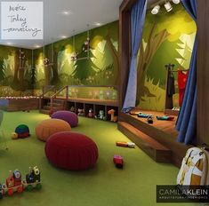 I love the colors in this room.  The space is not cluttered which is nice. I've never seen a preschool room with a stage for children to perform, so I think this would be a neat setup