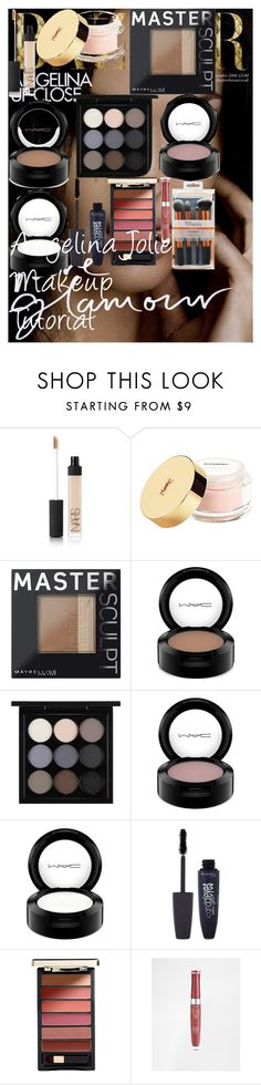 """Angelina Jolie Makeup Tutorial"" by oroartye-1 on Polyvore featuring beauty, NARS Cosmetics, Yves Saint Laurent, Maybelline, MAC Cosmetics, Rimmel, L'Oréal Paris and Bourjois"