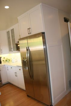 Counter depth refrigerator fits nicely into the cabinet to provide a ...