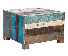 Mesa de centro en madera de teca maciza reciclada Cubo