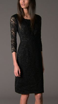 Lace Boat Neck Dress Elegant lace dress with frilled boat neckline Unlined three-quarter length sleeves, fitted waist panel Back zip closure Metal zip pull engraved with the Burberry logo Little Black Dress Outfit, Black Dress Outfits, Classy Outfits, Luxury Fashion, Women's Fashion, Fashion Outfits, Winter Outfits 2019, Burberry Dress, Boat Neck Dress