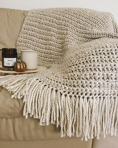 "Chunky Crochet Fringe Blanket - free pattern by Brenna Ann Handmade 35"" x 45"" (without fringe). Super chunky."