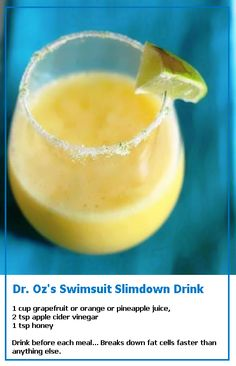 Dr. Ozs Swimsuit Slimdown Drink Forget slim down (well maybe not) this drink sounds good to me anytime, anywhere. Natural Supplements and Vitamins cheaper with iHerb coupon OWI469 http://youtu.be/vXCPDEkO9g4 #health #healthydiet #diet