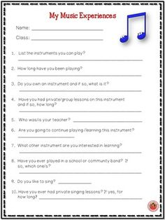 Back to School Music Student Information Sheets: Teacher Planning Middle School Music, Back To School, School Stuff, High School, Teacher Resources, Teaching Ideas, Classroom Resources, Classroom Ideas, Music Education