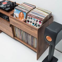 The Unison Record Stand from Symbol Audio is the perfect record player stand to hold a turntable and vinyl record collection. When flanked with floor standing speakers Unison creates the ultimate dedicated entertainment center for vinyl enthusiasts. Record Player Cabinet, Record Player Stand, Record Shelf, Vinyl Record Player, Vinyl Record Storage, Lp Storage, Vinyl Records, Record Player Furniture, Record Table