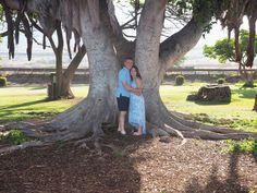Todd & Diana's morning light photo shoot at Launiupoko Beach Park, Maui, Hawaii - under the banyan tree. View more of this photo shoot at: http://mauiislandportraits.com/morning-photo-shoot-launiupoko-beach-park/