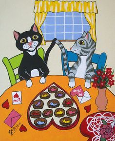 Valentines Cats Sharing Candy Fish New Original Painting  Julie Ellison Art