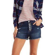 "Charlotte Russe Dark Wash Denim Refuge ""Hi-Rise Cheeky"" Cut-Off Shorts... ($25) ❤ liked on Polyvore featuring shorts, dark wash denim, high waisted shorts, cut off jean shorts, denim shorts, high-waisted cut-off shorts and short shorts"
