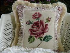 Gorgeous rose~ vintage needlepoint pillow