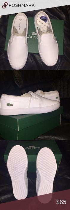 Women's white Gazon Slip on Sneakers Lacoste Never worn White Gazon Lacoste slip on shoes for women Lacoste Shoes Sneakers