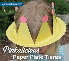 I made these paper plate crowns for my daughter's Pinkalicious party, but they would also work great for a princess party. I got the idea from G–'s preschool teacher and thought they would be perfect for Pinkalicious's tiarra. Princess Crown Crafts, Princess Tiara, Paper Plate Crafts, Paper Plates, Princess Party Activities, Activities For Kids, Crafts For Kids, Classroom Activities, Girl Birthday