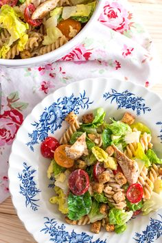 Lighter Chicken Caesar Pasta Salad | savorynothings.com