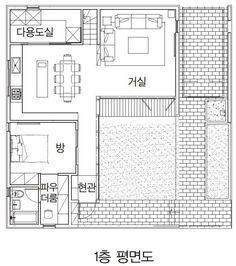 【광교 단독주택】 담과 가벽으로 개방감 확보와 사생활 보호한 집 Architecture Plan, Interior Exterior, Glamping, My Dream Home, My House, House Plans, New Homes, Floor Plans, Layout